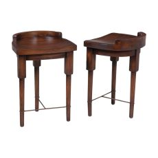 European Farmhouse Counter Stool In Deep Forest Stain, Brown