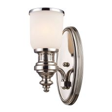 Chadwick 1 Light Wall Sconce In Polished Nickel And White Glass
