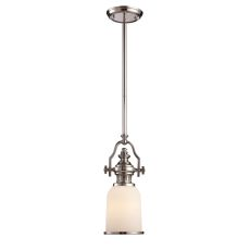 Chadwick 1 Light Mini Pendant In Polished Nickel And White Glass