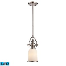 Chadwick 1 Light Led Mini Pendant In Polished Nickel And White Glass