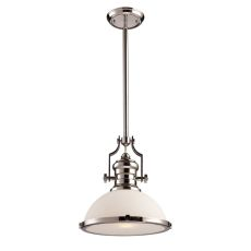Chadwick 1 Light Pendant In Polished Nickel With White Glass