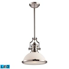 Chadwick 1 Light Led Pendant In Polished Nickel With White Glass