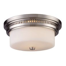 Chadwick 2 Light Flushmount In Satin Nickel And White Glass
