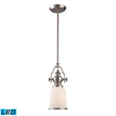 Chadwick 1 Light Led Mini Pendant In Satin Nickel And White Glass
