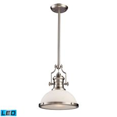 Chadwick 1 Light Led Pendant In Satin Nickel With White Glass