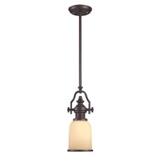 Chadwick 1 Light Mini Pendant In Oiled Bronze And Amber Glass