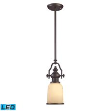 Chadwick 1 Light Led Mini Pendant In Oiled Bronze And Amber Glass