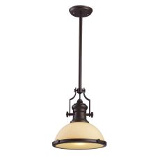 Chadwick 1 Light Pendant In Oiled Bronze And Amber Glass