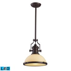 Chadwick 1 Light Led Pendant In Oiled Bronze And Amber Glass