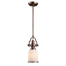 Chadwick 1 Light Mini Pendant In Antique Copper And White Glass
