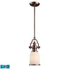 Chadwick 1 Light Led Mini Pendant In Antique Copper And White Glass