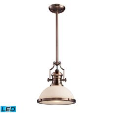 Chadwick 1 Light Led Pendant In Antique Copper And White Glass
