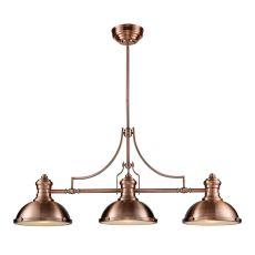 Chadwick 3 Light Billiard In Antique Copper