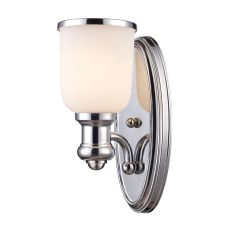 Brooksdale 1 Light Wall Sconce In Polished Chrome And White Glass