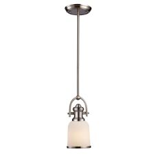 Brooksdale 1 Light Pendant In Satin Nickel With White Glass
