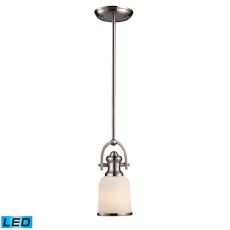 Brooksdale 1 Light Led Pendant In Satin Nickel With White Glass