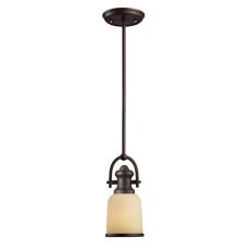 Brooksdale 1 Light Mini Pendant In Oiled Bronze And Amber Glass