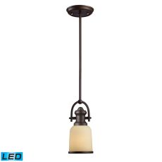 Brooksdale 1 Light Led Mini Pendant In Oiled Bronze And Amber Glass