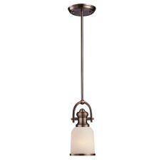 Brooksdale 1 Light Mini Pendant In Antique Copper And White Glass