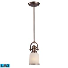 Brooksdale 1 Light Led Mini Pendant In Antique Copper And White Glass