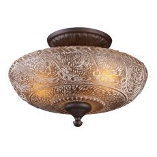 Norwich 3 Light Semi Flush In Oiled Bronze And Amber Glass