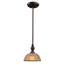 Norwich 1 Light Mini Pendant In Oiled Bronze And Amber Glass