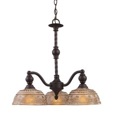 Norwich 3 Light Chandelier In Oiled Bronze And Amber Glass