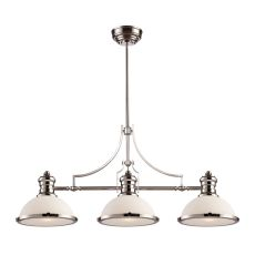 Chadwick 3 Light Billiard In Polished Nickel And White Glass