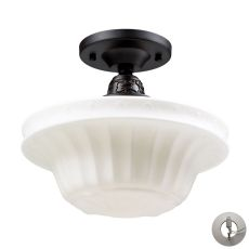 Quinton Parlor 1 Light Semi Flush In Oiled Bronze And White Glass - Includes Recessed Lighting Kit