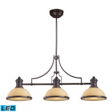 Chadwick 3 Light Led Billiard In Oiled Bronze And Amber Glass