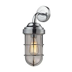 Seaport 1 Light Wall Sconce In Polished Chrome And Clear Glass
