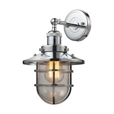 Seaport 1 Light Sconce In Polished Chrome And Clear Glass