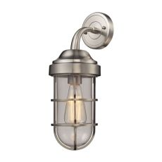 Seaport 1 Light Wall Sconce In Satin Nickel And Clear Glass