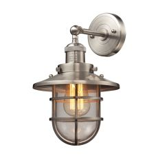 Seaport 1 Light Sconce In Satin Nickel And Clear Glass