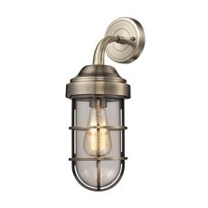 Seaport 1 Light Wall Sconce In Antique Brass And Clear Glass