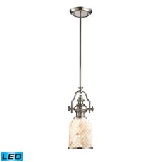 Chadwick 1 Light Led Pendant In Polished Nickel And Cappa Shells