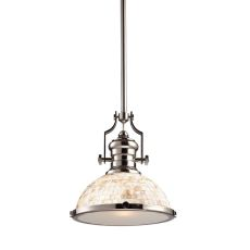 Chadwick 1 Light Pendant In Polished Nickel And Cappa Shells