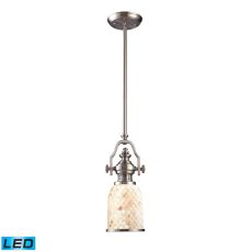 Chadwick 1 Light Led Pendant In Satin Nickel And Cappa Shells