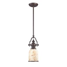 Chadwick 1 Light Pendant In Oiled Bronze And Cappa Shells