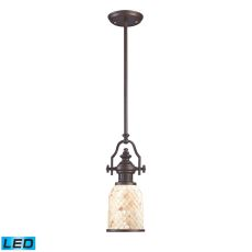 Chadwick 1 Light Led Pendant In Oiled Bronze And Cappa Shells