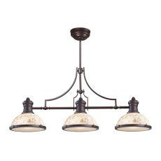 Chadwick 3 Light Billiard Light In Oiled Bronze And Cappa Shells