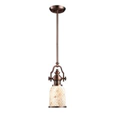Chadwick 1 Light Pendant In Antique Copper And Cappa Shells
