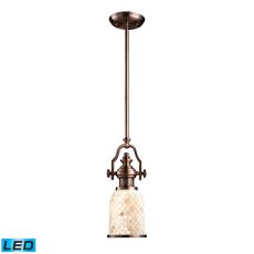 Chadwick 1 Light Led Pendant In Antique Copper And Cappa Shells