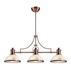 Chadwick 3 Light Billiard In Antique Copper And Cappa Shells