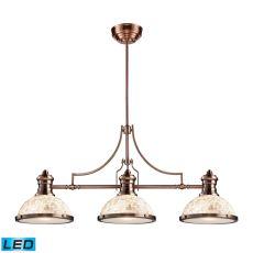 Chadwick 3 Light Led Billiard In Antique Copper And Cappa Shells