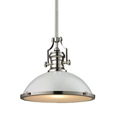 Chadwick 1 Light Pendant In Gloss White And Polished Nickel