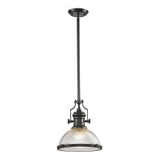 Chadwick 1 Light Pendant In Oil Rubbed Bronze And Halophane Glass