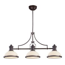 Chadwick 3 Light Island In Oiled Bronze And White Glass