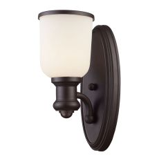 Brooksdale 1 Light Wall Sconce In Oiled Bronze And White Glass