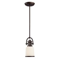 Brooksdale 1 Light Pendant In Oiled Bronze And White Glass